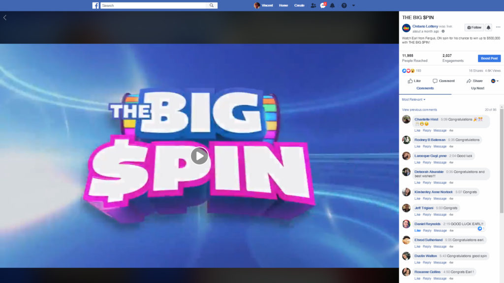 OLG Big Spin - Facebook Stream.  You may have to sign in to watch.