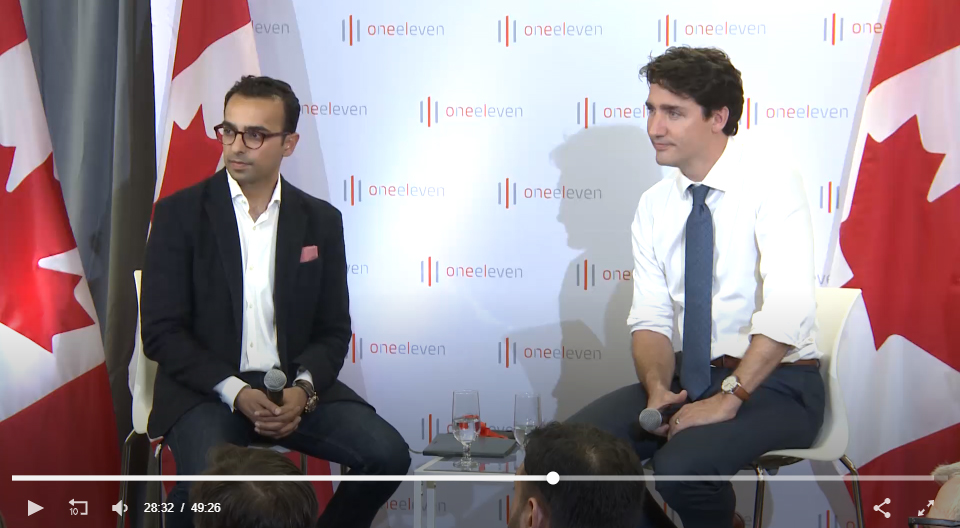 Prime Minister Justin Trudeau at OneEleven